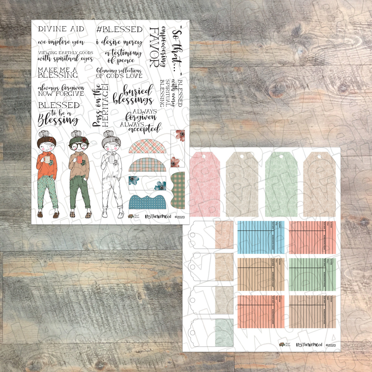 """Digital Paper Collection for """"Blessed to Be a Blessing"""" Devotional Kit - 9 Sheets of Coordinating Papers"""