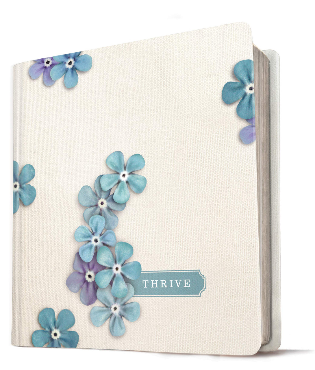 NLT Thrive Creative Journaling Devotional Bible (Hardcover, Blue Flowers)