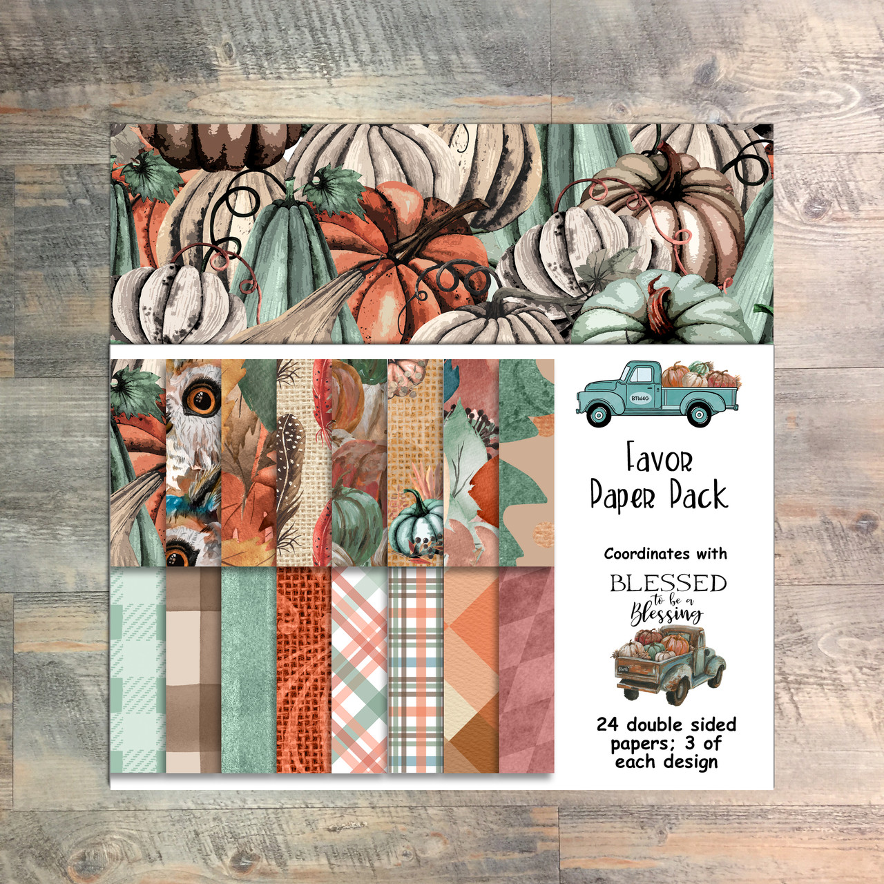 Blessed to be a Blessing - Favor Paper Collection - 24 Double Sided 6x6 Papers