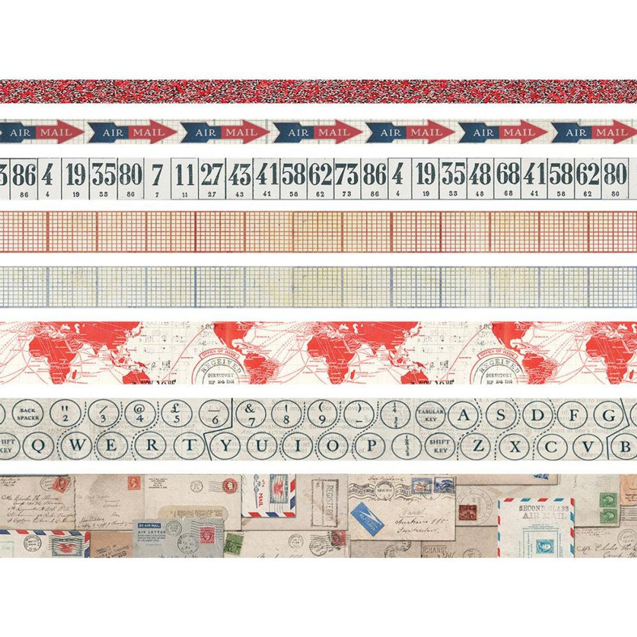 Postal Idea-Ology Design Tape 8/Pkg - Washi Tape Set for Bible Journaling and Crafting by Tim Holtz