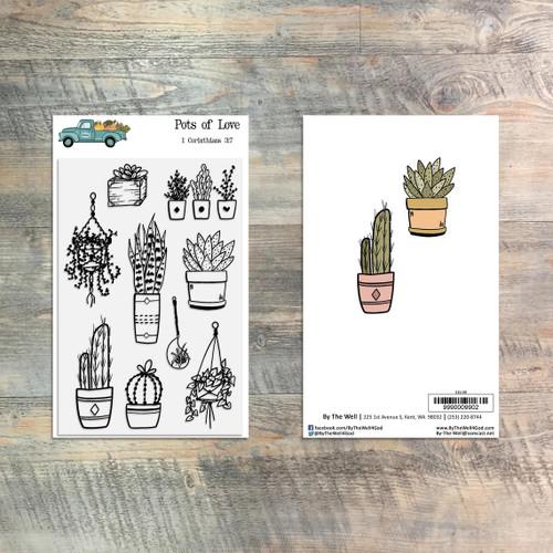 Pots of Love Stamp Set - 9 Piece Stamp Set - ByTheWell4God