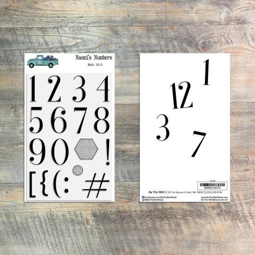 Naomi's Numbers - Stamp Set - 18 Piece Stamp Set