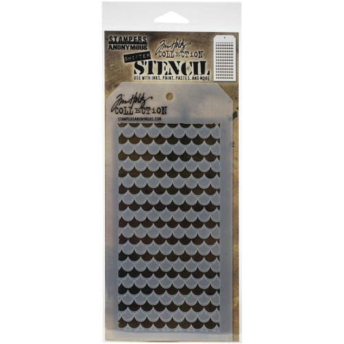 Shifter Scallop Stencil - Stampers Anonymous - Tim Holtz- Great for backgrounds!