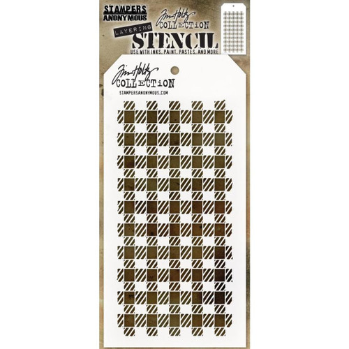 Gingham Layering Stencil - Stampers Anonymous - Tim Holtz- Great for backgrounds!