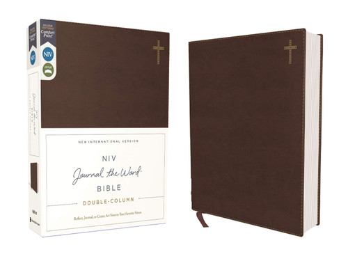 NIV, Journal the Word Bible, Double-Column, Leathersoft, Brown, Red Letter Edition, Comfort Print