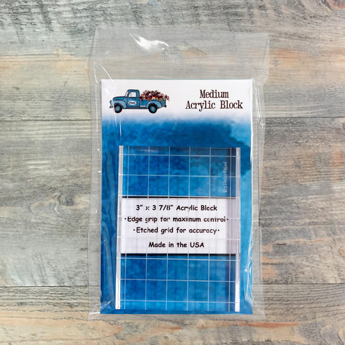 BTW4G Medium Acrylic Stamping Block - 3 x 3.875-inch Block with Etched Grid & Edge Grip