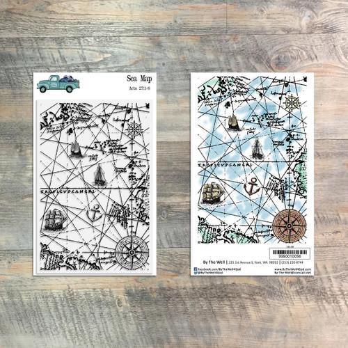 Sea Map Texture Stamp Set - 1 Piece Stamp Set - ByTheWell4God