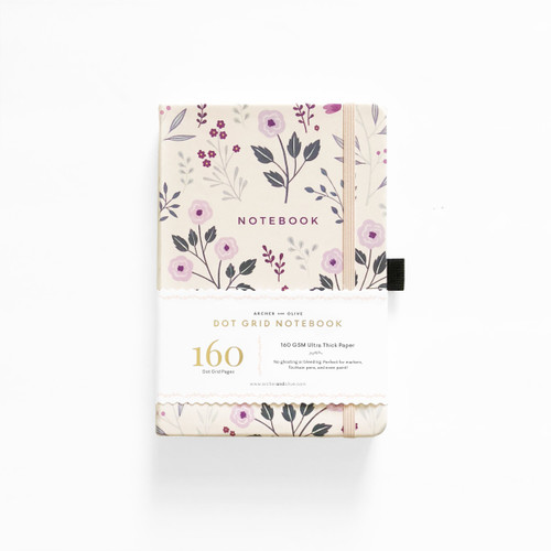 A5 Painted Flowers Dot Grid Notebook