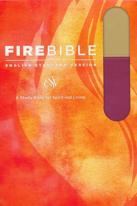 Fire Bible ESV Version, Imitation Leather, Tan/Berry