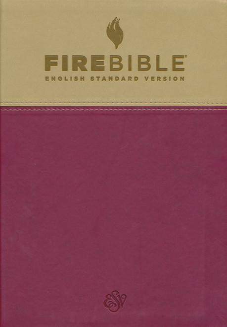 Fire Bible ESV Version, Imitation Leather, Tan/Berry