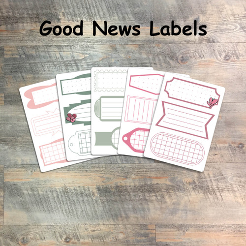 """Good News Labels - 5 Sheets of Label Stickers from BTW4G- Inspired by """"Our First Love"""""""