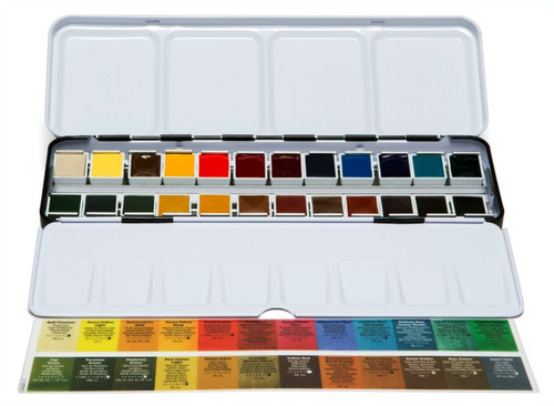 Daniel Smith: 24-Color Hand Poured Half Pan Set in Metal Box with 24 Empty Half Pans