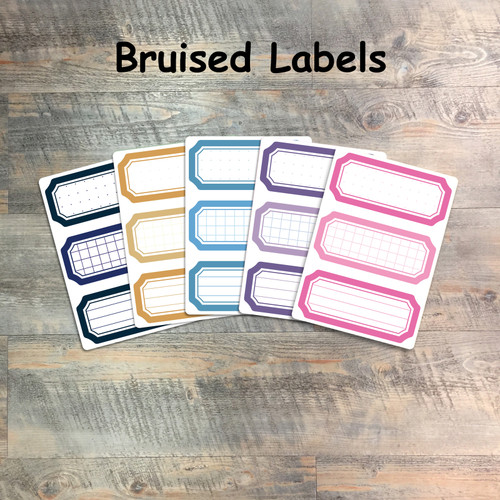 "Bruised Labels - 5 Sheets of Tags and Label Stickers from BTW4G- Inspired by ""In The Night Season"""