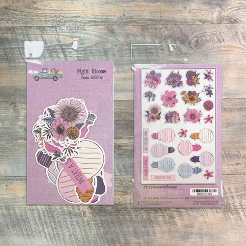 """Night Blooms - Cardstock Ephemera - Die-Cuts 25/Pkg - Coordinates with """"Our First Love"""""""