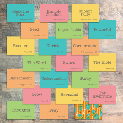 """Mini Flash Cards for Grow in Grace - 20 2x3 Flash Cards in Colors to Match """"Grow in Grace"""" Kit"""