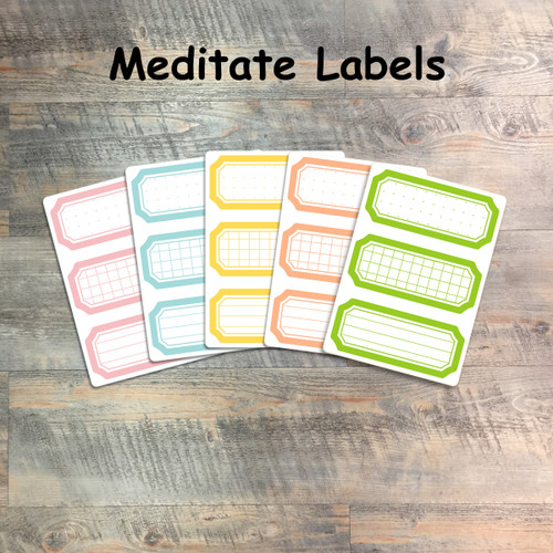 """Meditate Labels - 5 Sheets of Label Stickers from BTW4G- Inspired by """"Grow in Grace"""""""