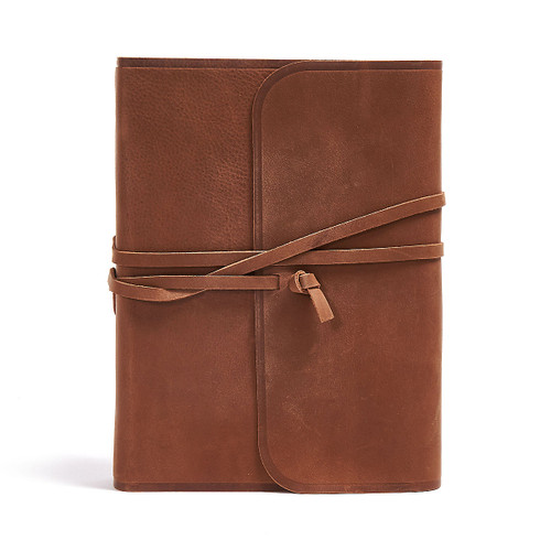 Interleaved Journaling Bible (Brown, Flap with Strap), Leather