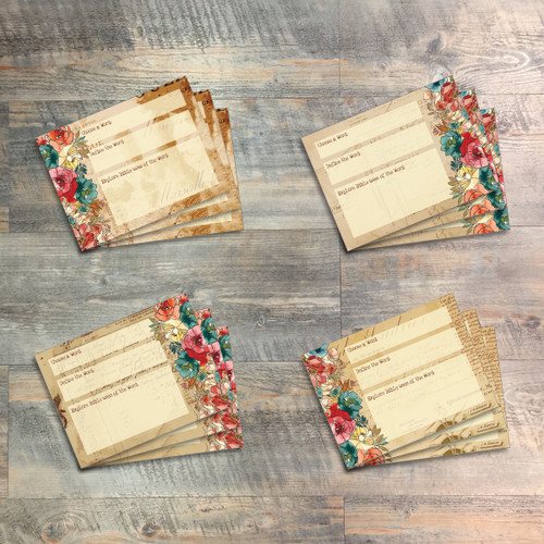 """Bible Word Study, Journaling Cards - 12 3x4 Cards in Vintage Designs to Match """"Famous Last Words"""" Kit"""