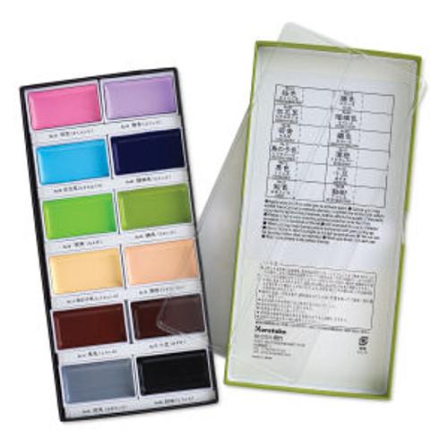 Kuretake - Gansai Tambi - Solid Watercolors - 12 Color Set II - Japanese Traditional Solid Watercolor Paint