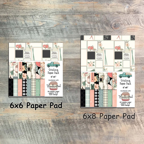 Handcrafted - Stitching Paper Collection - 24 Double Sided 6x6 or 6x8 Papers