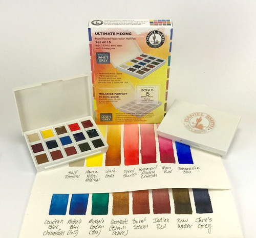 Daniel Smith: Ultimate Mixing Hand Poured Watercolor Half Pan Set - Bible Journaling Supplies