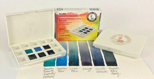 Daniel Smith: Blues - Serene to Dramatic Hand Poured Watercolor Half Pan Set Hand Poured Watercolor Half Pan Set - Bible Journaling Supplies