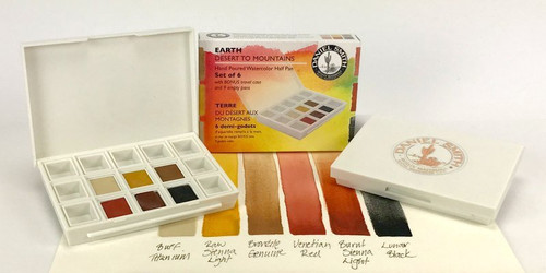 Daniel Smith: Earth - Desert to Mountains Hand Poured Watercolor Half Pan Set - Bible Journaling Supplies