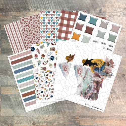 """Digital Paper Collection for """"A Heart at Rest"""" Devotional Kit - 9 Sheets of Coordinating Papers"""