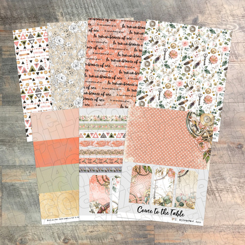 """Digital Paper Collection for """"Come To The Table"""" Devotional Kit - 7 Sheets of Coordinating Papers - by ByTheWell4God"""