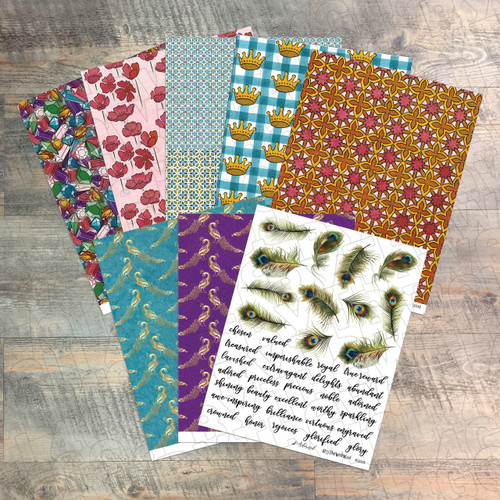 """Digital Paper Collection for """"Adorned"""" Devotional Kit - 8 Sheets of Coordinating Papers - by ByTheWell4God"""