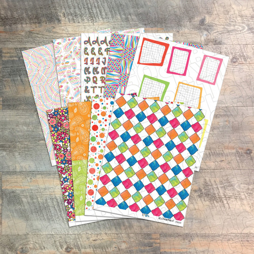 """Digital Paper Collection for """"In The Groove"""" Devotional Kit - 7 Sheets of Coordinating Papers"""