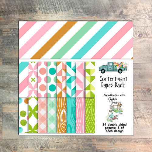 "Contentment Paper Collection - 24 Double Sided 6x6 Papers - Coordinates with ""Greener Grass"" Devotional Kit"