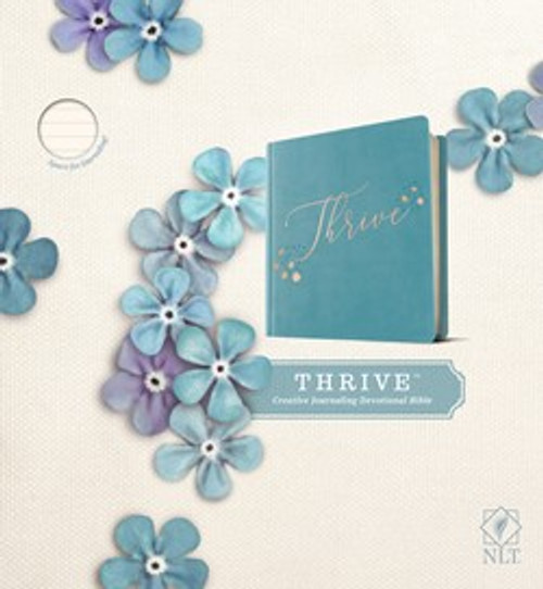 NLT Thrive Creative Journaling Devotional Bible (Hardcover Leatherlike, Teal Blue with Rose Gold)