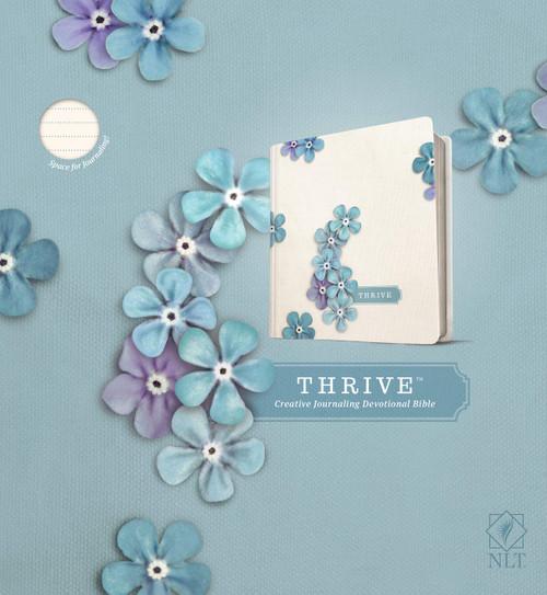 NLT Thrive Creative Journaling Devotional Bible (Hardcover, Blue Flowers)