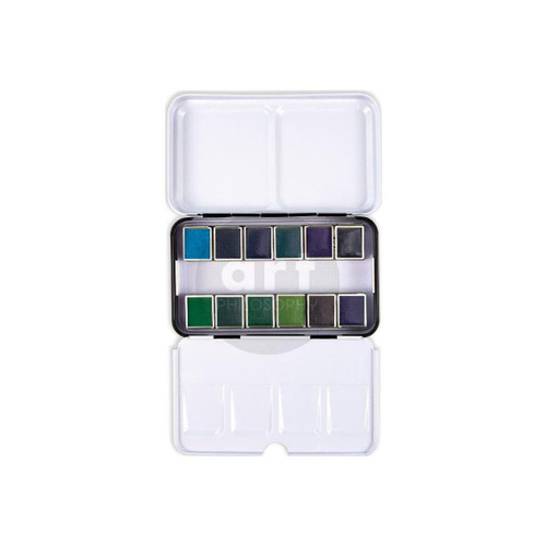 Currents - Prima Marketing Watercolor Confections: 12-Color Half Pan Set in Metal Box - Bible Journaling Supplies