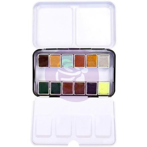Essence - Prima Marketing Watercolor Confections: 12-Color Half Pan Set in Metal Box - Bible Journaling Supplies