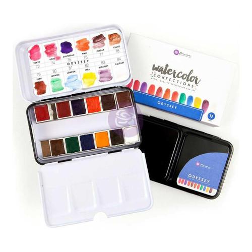Odyssey - Prima Marketing Watercolor Confections: 12-Color Half Pan Set in Metal Box - Bible Journaling Supplies