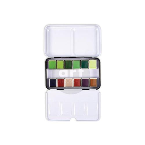 Terrain - Prima Marketing Watercolor Confections: 12-Color Half Pan Set in Metal Box - Bible Journaling Supplies