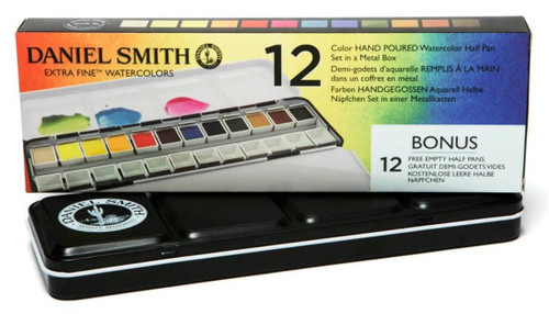 Daniel Smith: 12-Color Half Pan Set in Metal Box with 12 Empty Half Pans - Bible Journaling Supplies