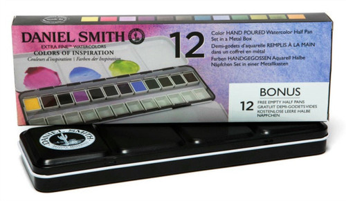 Daniel Smith: Colors of Inspiration 12-Color Half Pan Set in Metal Box with 12 Empty Half Pans - Bible Journaling Supplies