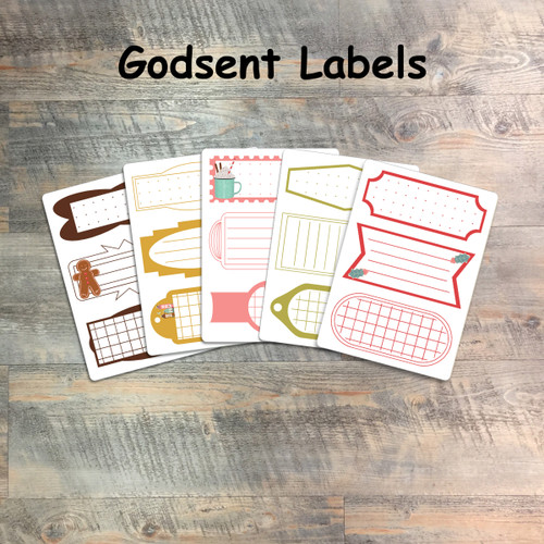 """Godsent Labels - 5 Sheets of Tags and Label Stickers from BTW4G- Inspired by """"25 Gifts of Love"""""""
