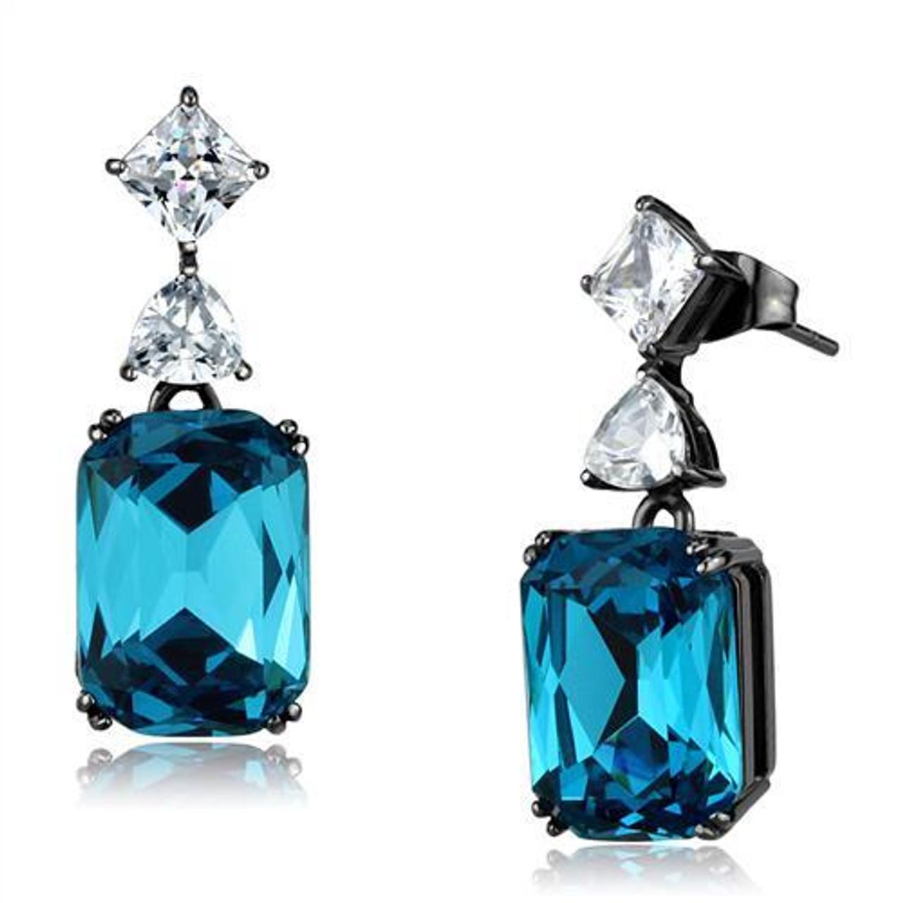 a3d9eebfc Blue Zircon Simulated Diamond Drop Earrings