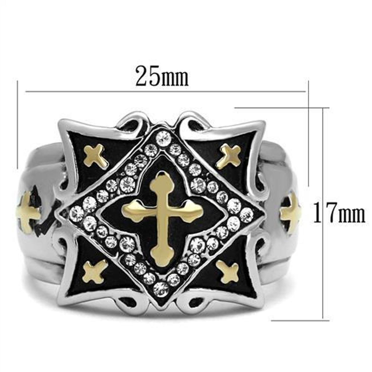 Cross of Jerusalem Stainless Steel Ring