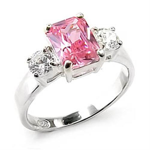 SPARKLING THREE STONE ROSE 925 STERLING SILVER RING