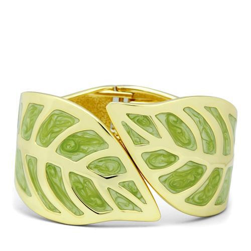 Green and Gold Autumn Leaf Bangle Bracelet