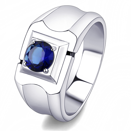 Blue Montana Cubic Zirconia Stainless Steel Ring