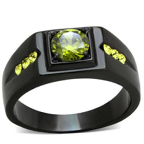 Men's 1.43 CT Olivine Green Ruthenium Ring over Stainless Steel
