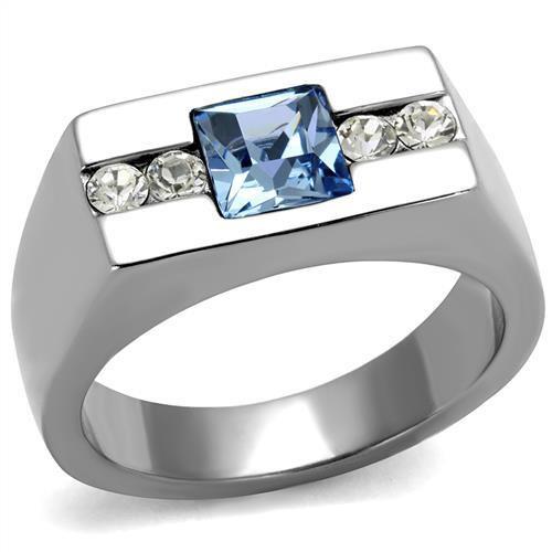Men's silver faux diamond ring