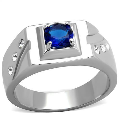 Men's Top Grade Blue Montana Cubic Zirconia Ring