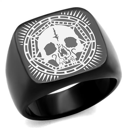 Black Ruthenium Plated Skull Biker Ring in Stainless Steel